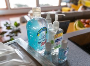 Bottles of hand sanitiser
