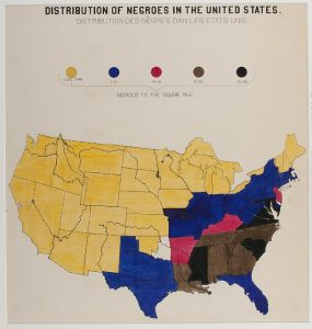 [A series of statistical charts illustrating the condition of the descendants of former African slaves now in residence in the United States of America] Distribution of Negroes in the United States.