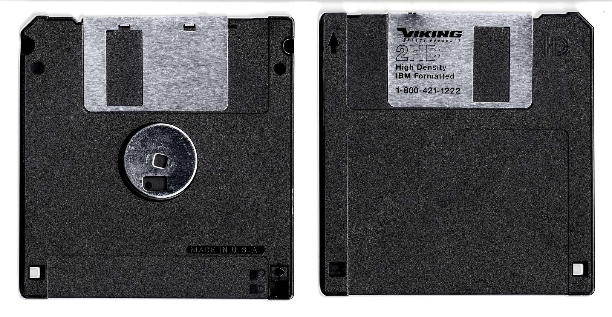 The front and back of a floppy disk