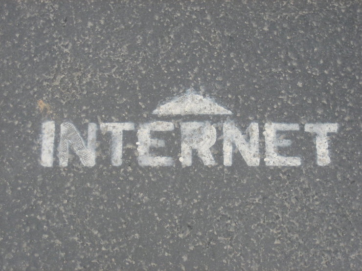 the word internet painted on the ground