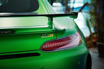 back of a green sports car