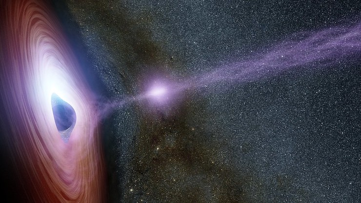 Can a black hole suck in another black hole?