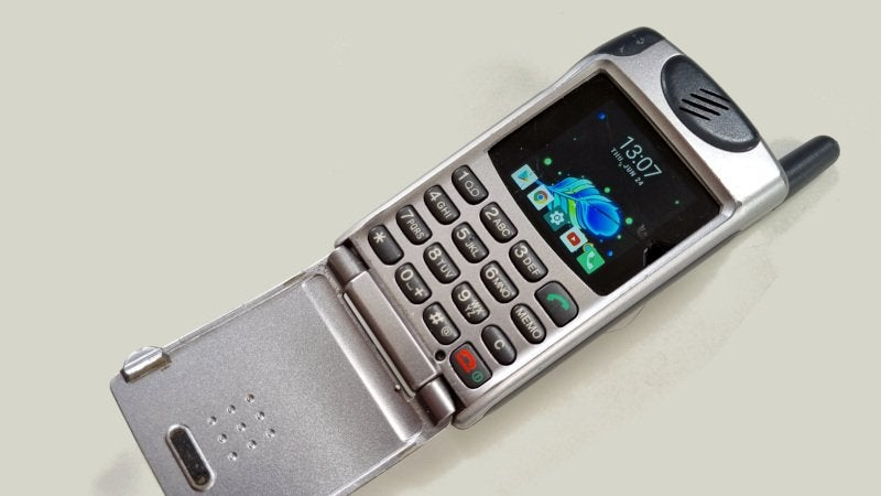 A Sony flip phone from 2000 running Android 9